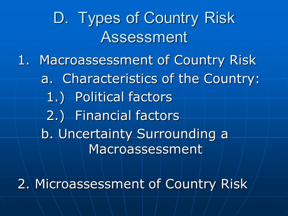 D. Types of Country Risk Assessment