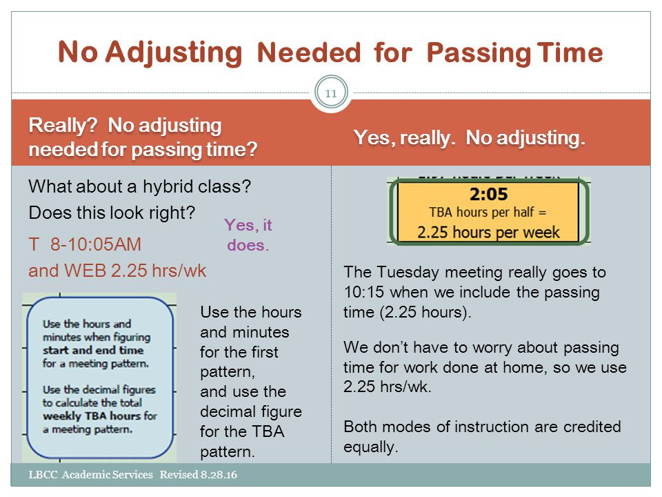No Adjusting Needed for Passing Time