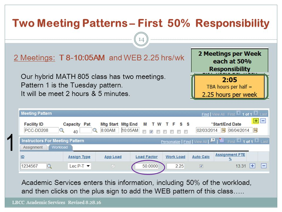 Two Meeting Patterns – First 50% Responsibility