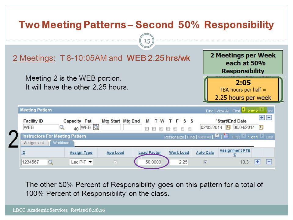 Two Meeting Patterns – Second 50% Responsibility
