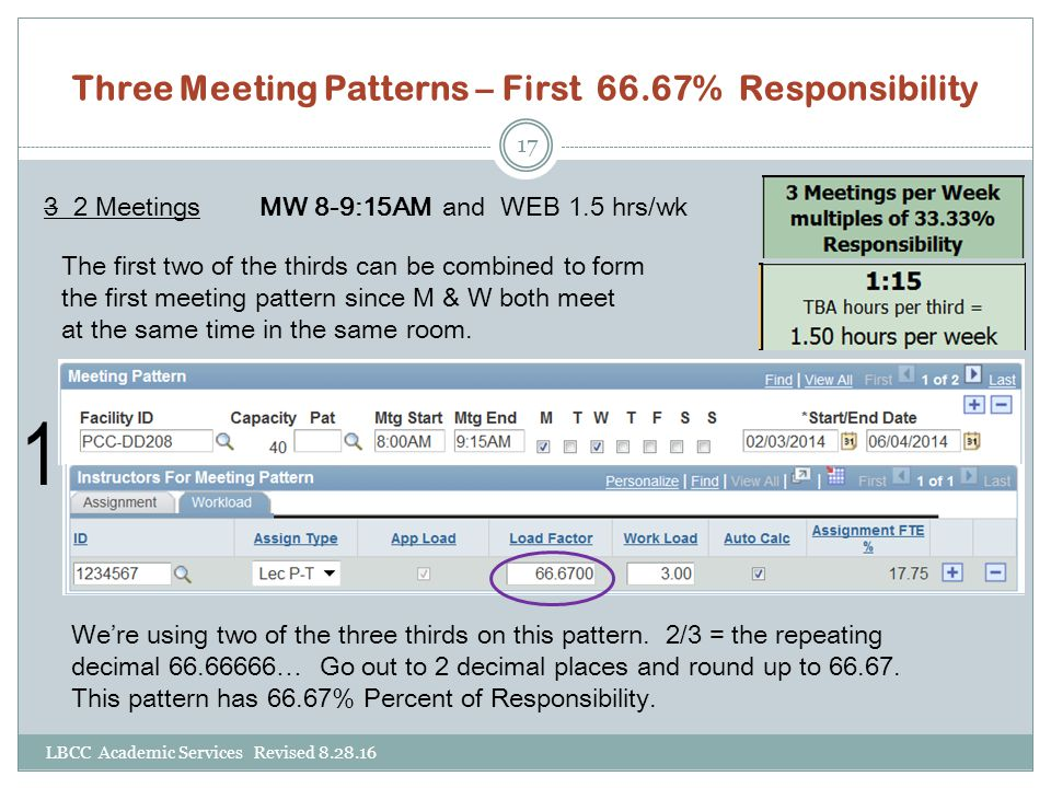 Three Meeting Patterns – First 66.67% Responsibility