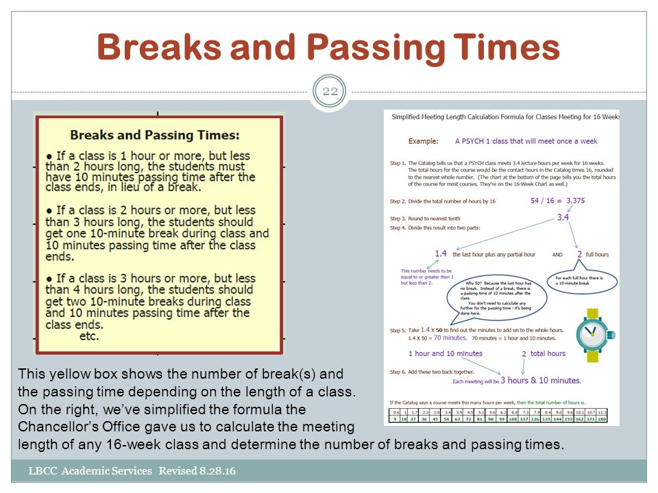 Breaks and Passing Times