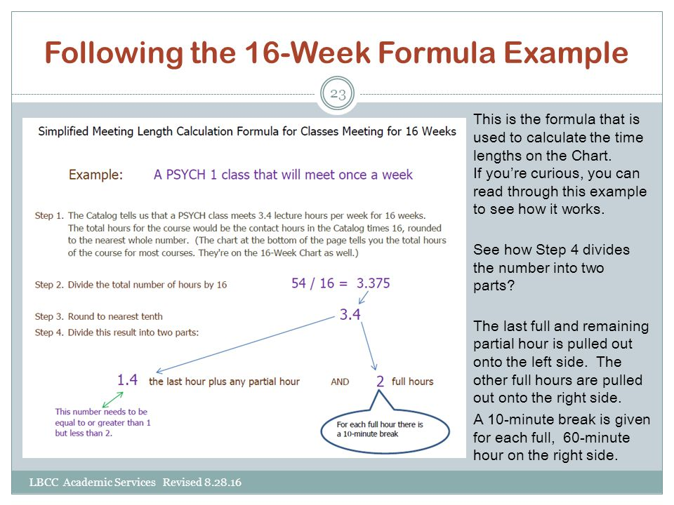 Following the 16-Week Formula Example
