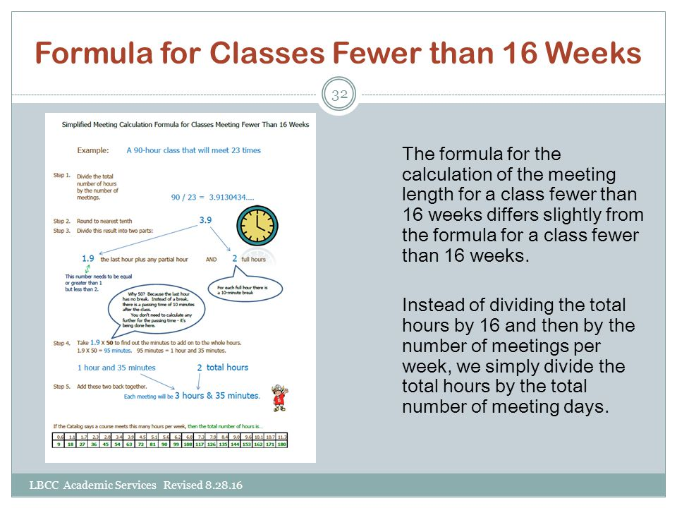 Formula for Classes Fewer than 16 Weeks