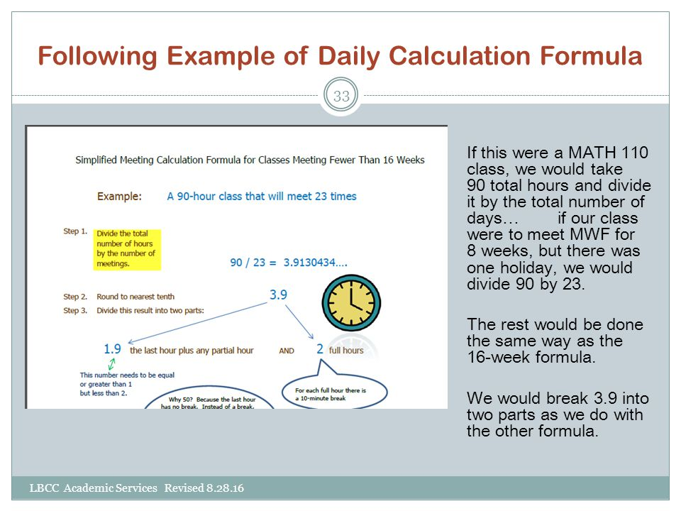 Following Example of Daily Calculation Formula
