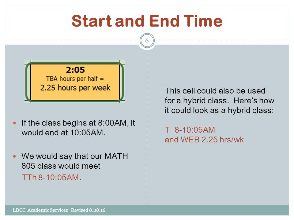 Start and End Time If the class begins at 8:00AM, it would end at 10:05AM. We would say that our MATH 805 class would meet.