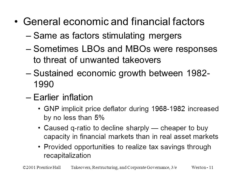 General economic and financial factors