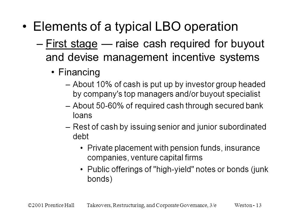 Elements of a typical LBO operation