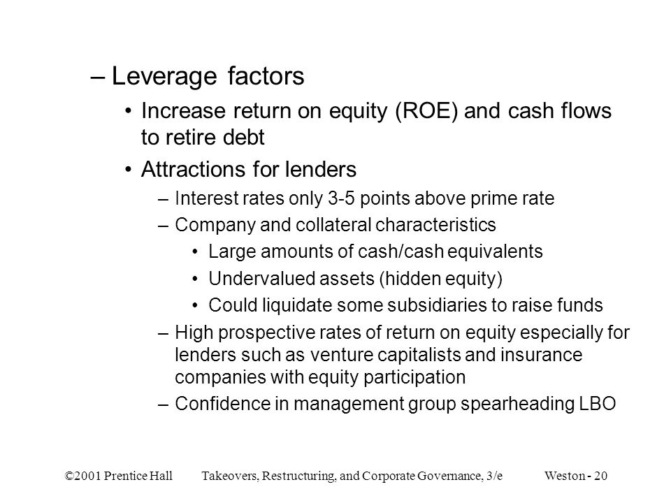 Leverage factors Increase return on equity (ROE) and cash flows to retire debt. Attractions for lenders.