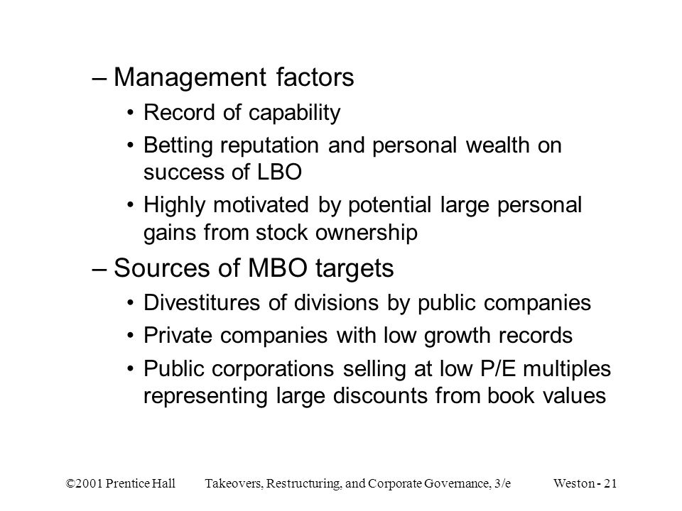Management factors Sources of MBO targets Record of capability