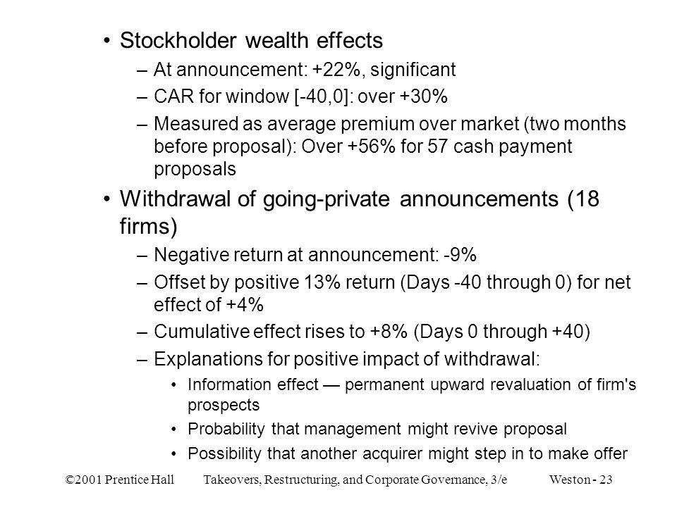 Stockholder wealth effects