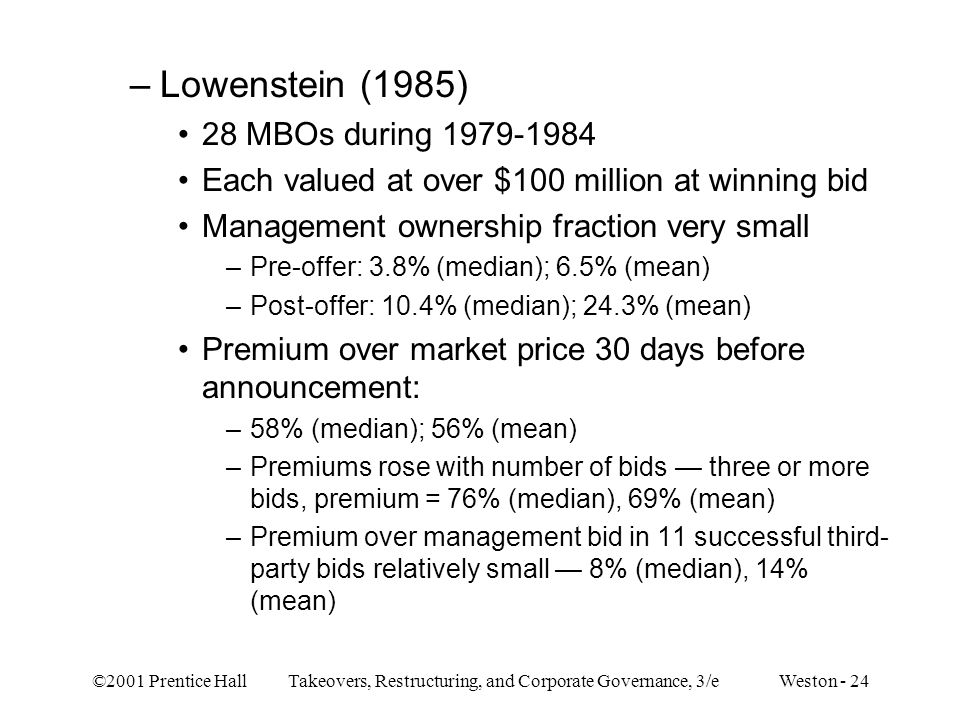 Lowenstein (1985) 28 MBOs during 1979-1984