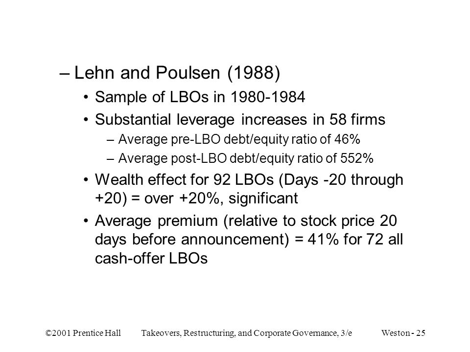 Lehn and Poulsen (1988) Sample of LBOs in 1980-1984