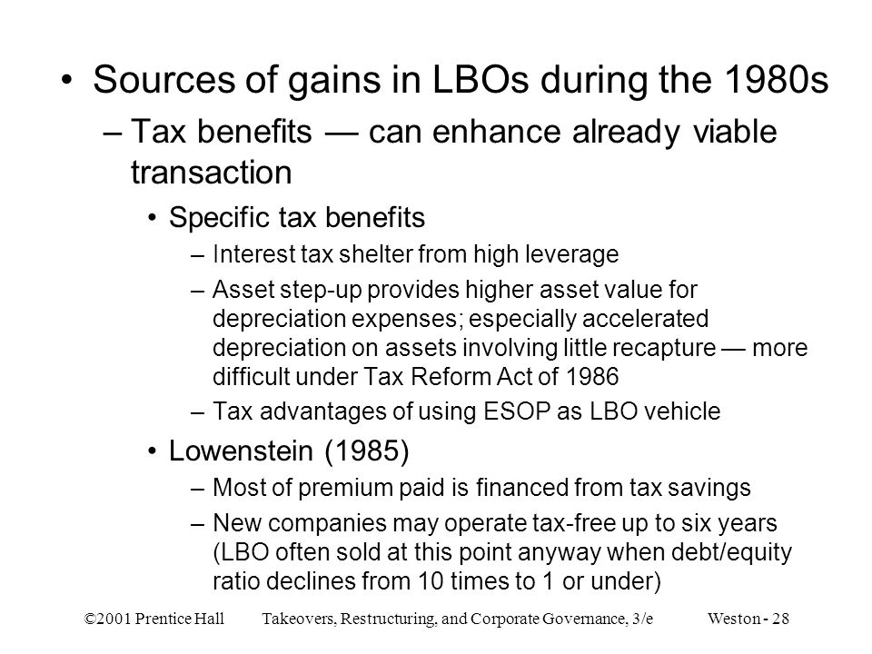 Sources of gains in LBOs during the 1980s