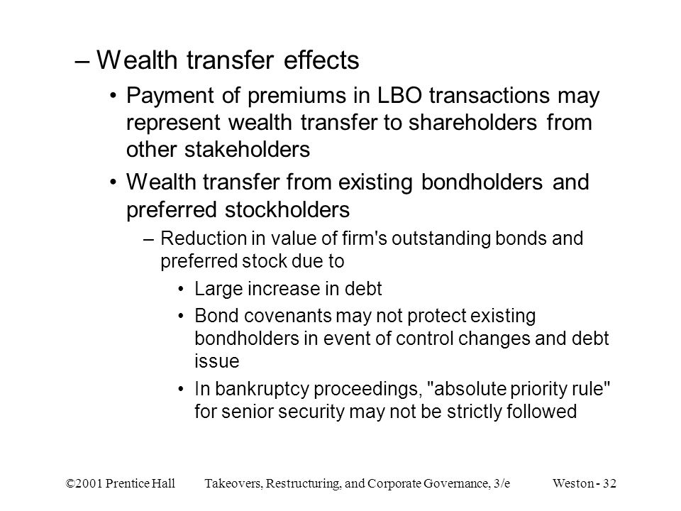 Wealth transfer effects