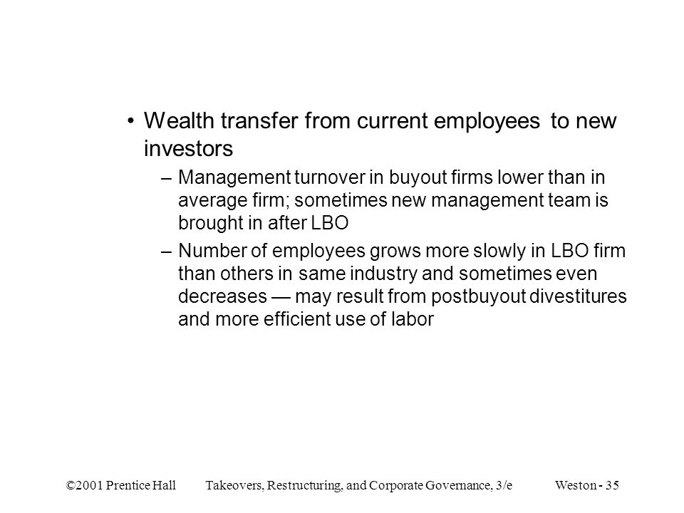 Wealth transfer from current employees to new investors