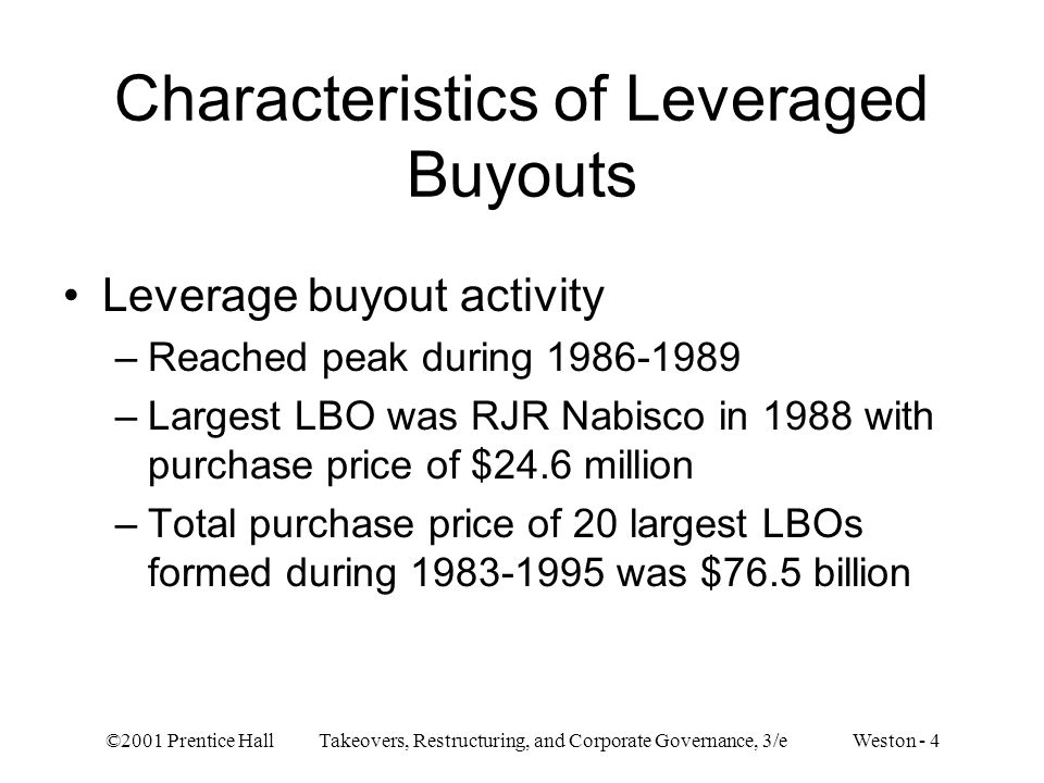 Characteristics of Leveraged Buyouts