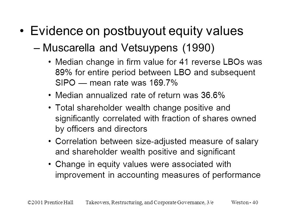 Evidence on postbuyout equity values