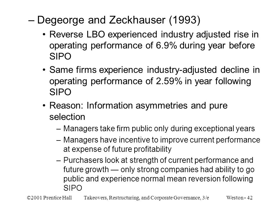 Degeorge and Zeckhauser (1993)