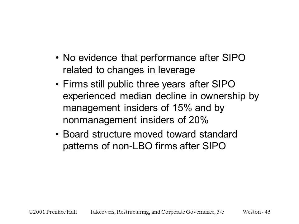 No evidence that performance after SIPO related to changes in leverage