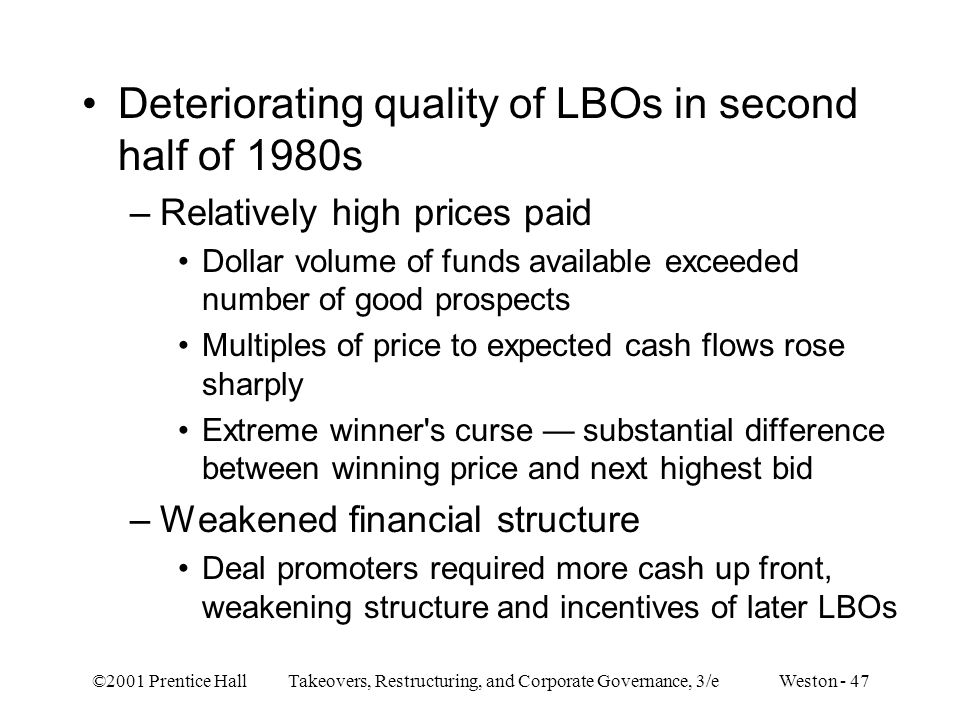 Deteriorating quality of LBOs in second half of 1980s