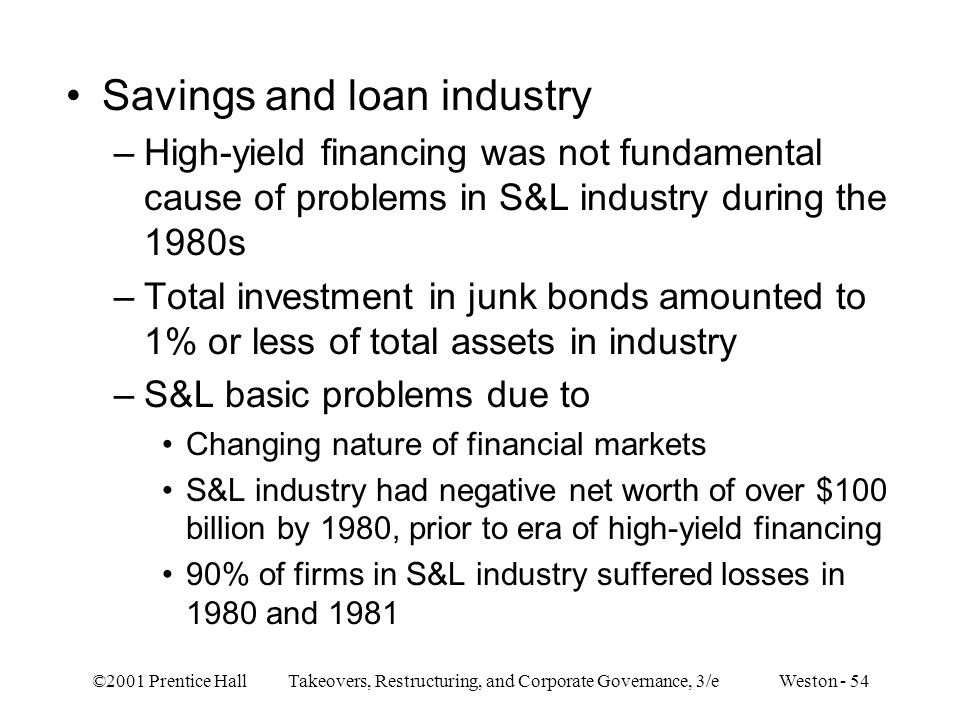 Savings and loan industry