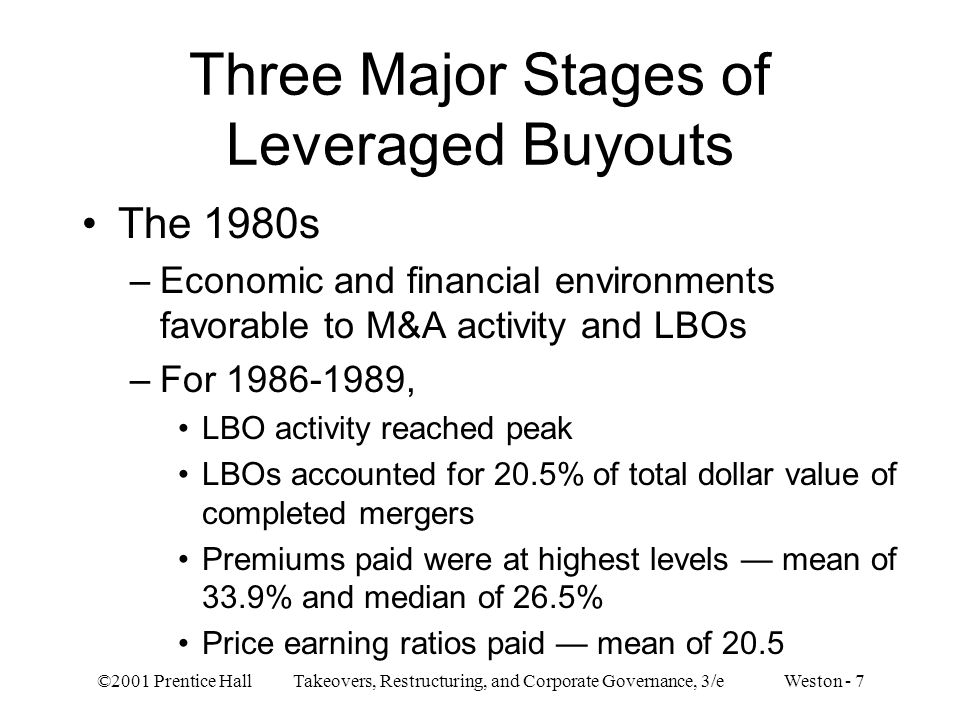 Three Major Stages of Leveraged Buyouts