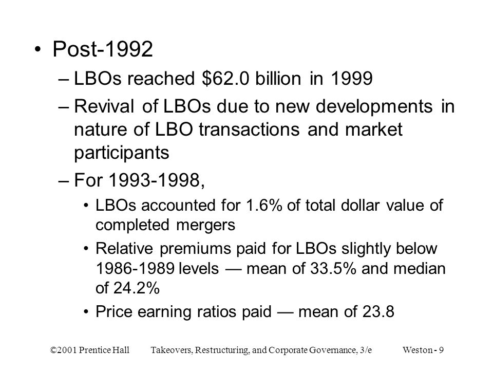 Post-1992 LBOs reached $62.0 billion in 1999