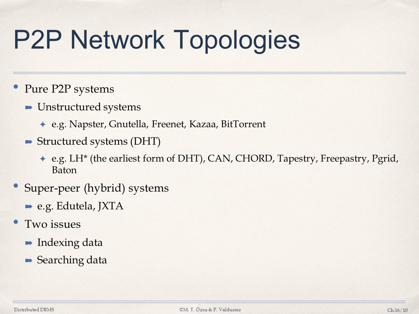 P2P Network Topologies Pure P2P systems Super-peer (hybrid) systems
