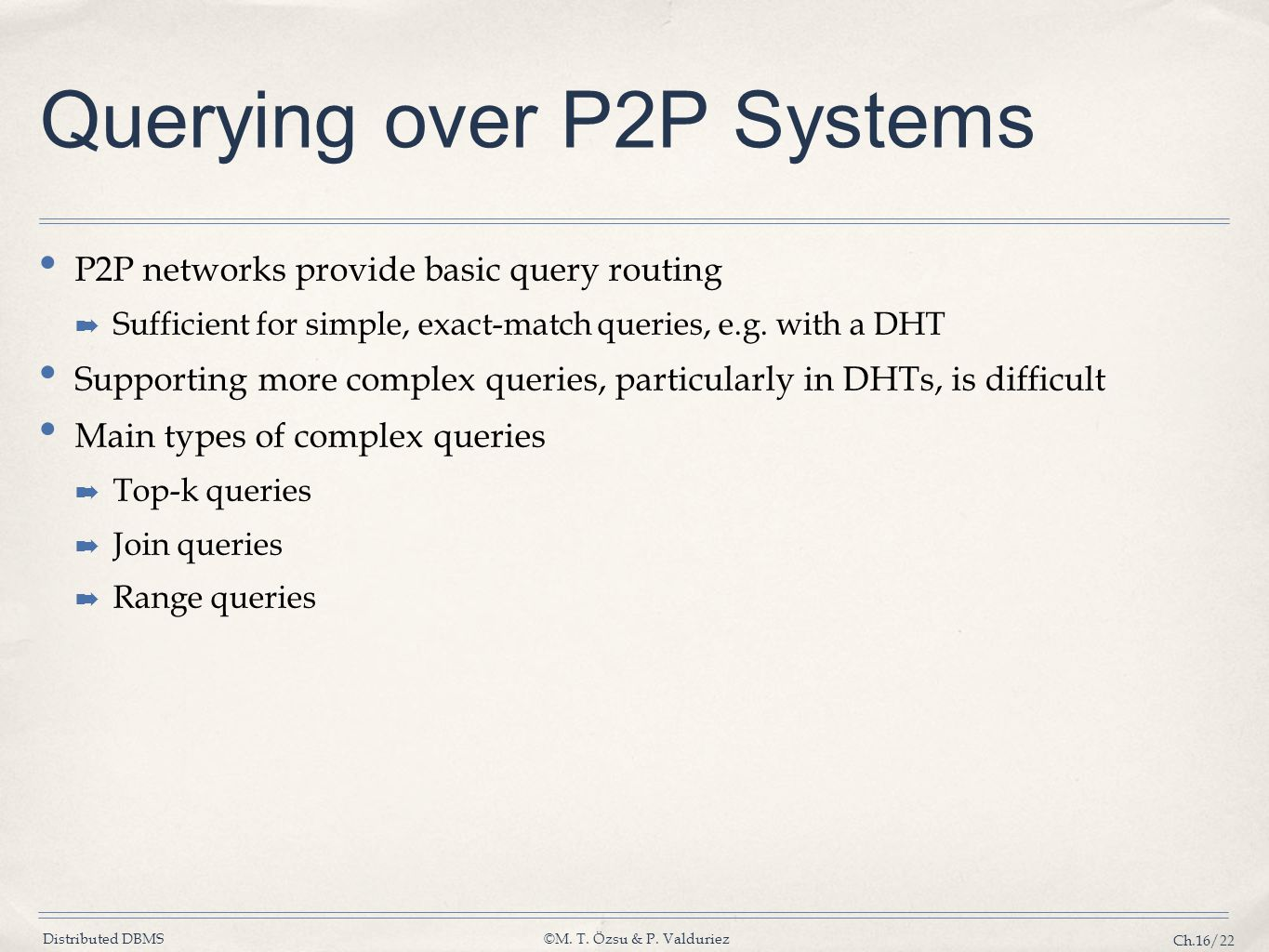 Querying over P2P Systems