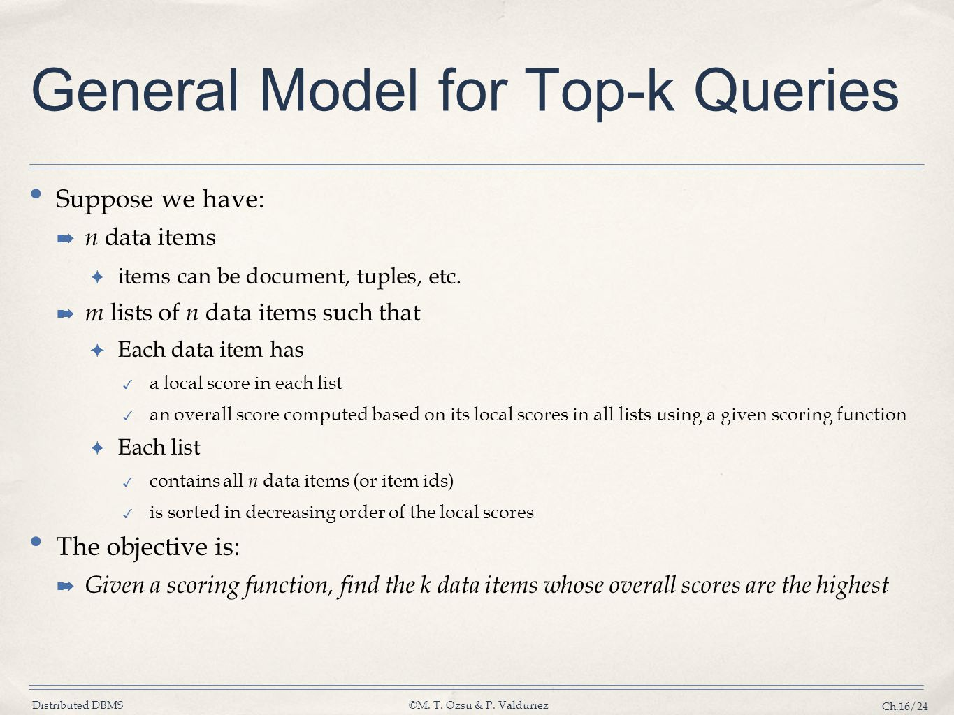 General Model for Top-k Queries