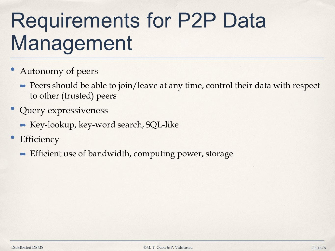 Requirements for P2P Data Management