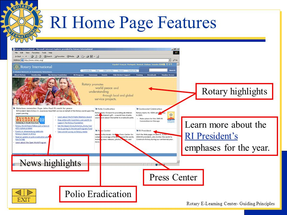 RI Home Page Features Rotary highlights