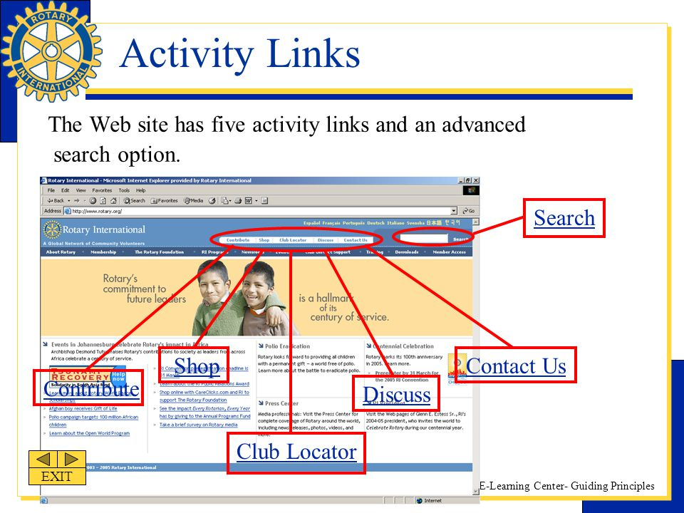 Activity Links The Web site has five activity links and an advanced