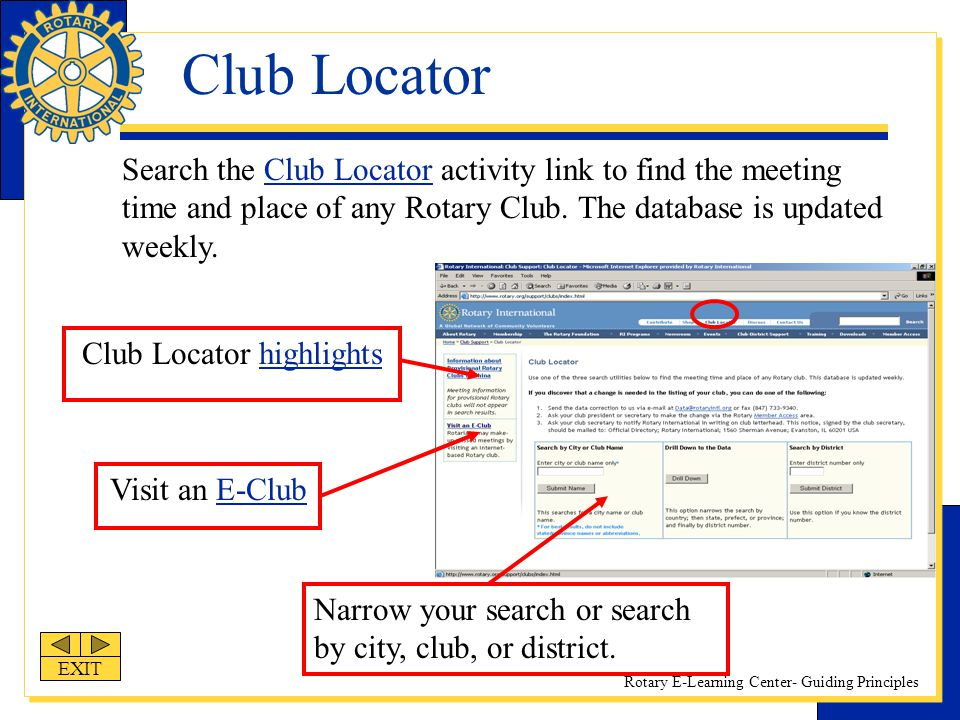 Club Locator highlights