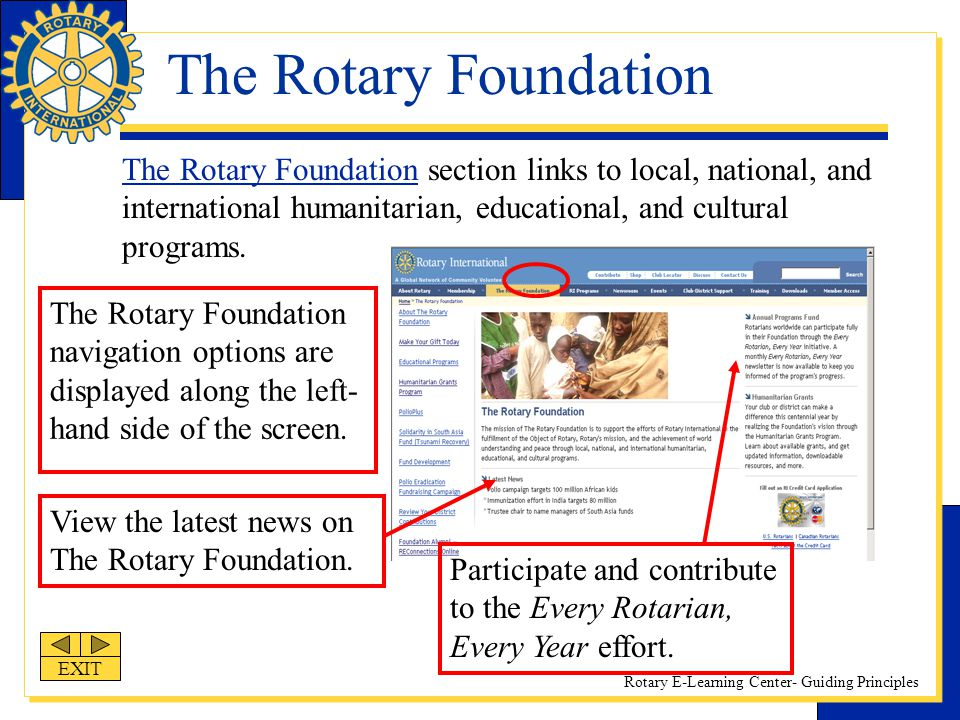 The Rotary Foundation The Rotary Foundation section links to local, national, and international humanitarian, educational, and cultural programs.