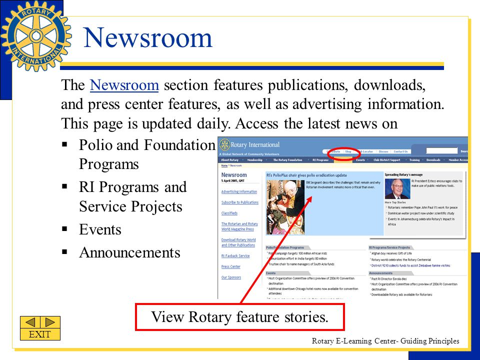 View Rotary feature stories.