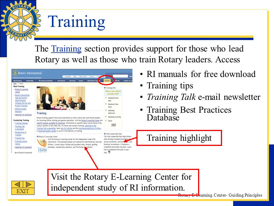 Training The Training section provides support for those who lead Rotary as well as those who train Rotary leaders. Access.