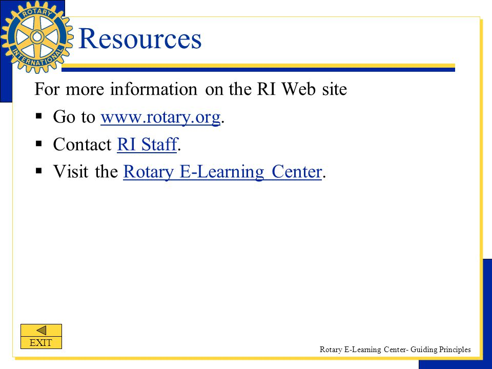 Resources For more information on the RI Web site