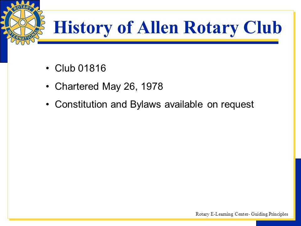 History of Allen Rotary Club