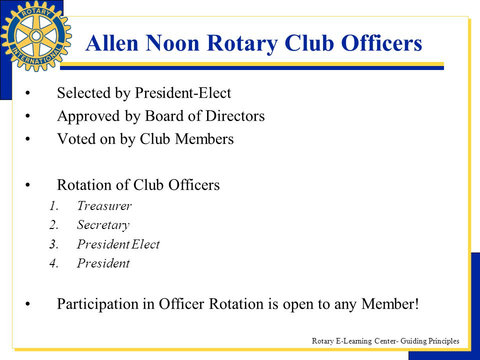 Allen Noon Rotary Club Officers