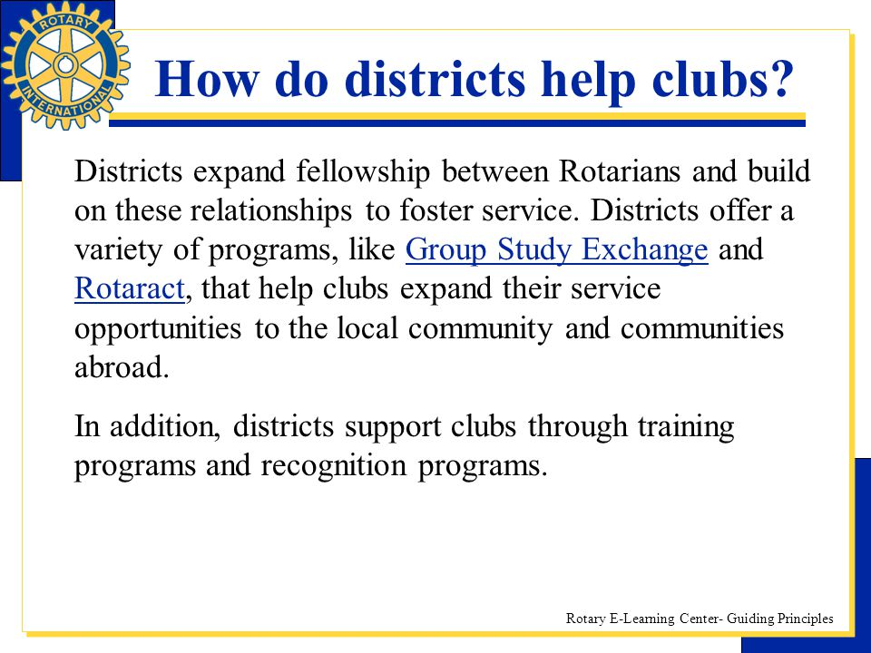 How do districts help clubs