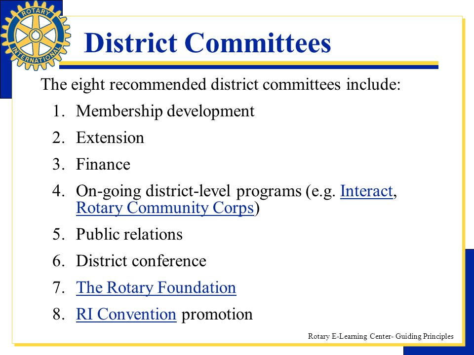 District Committees The eight recommended district committees include: