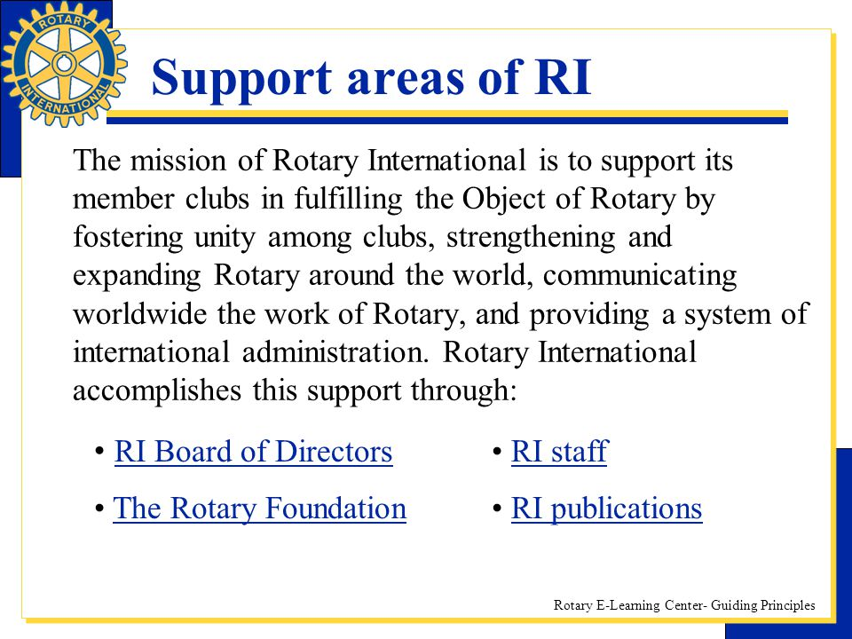 Support areas of RI
