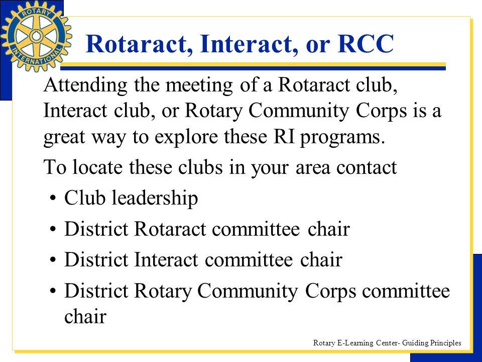 Rotaract, Interact, or RCC
