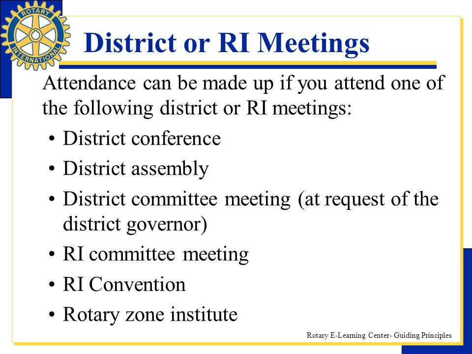 District or RI Meetings