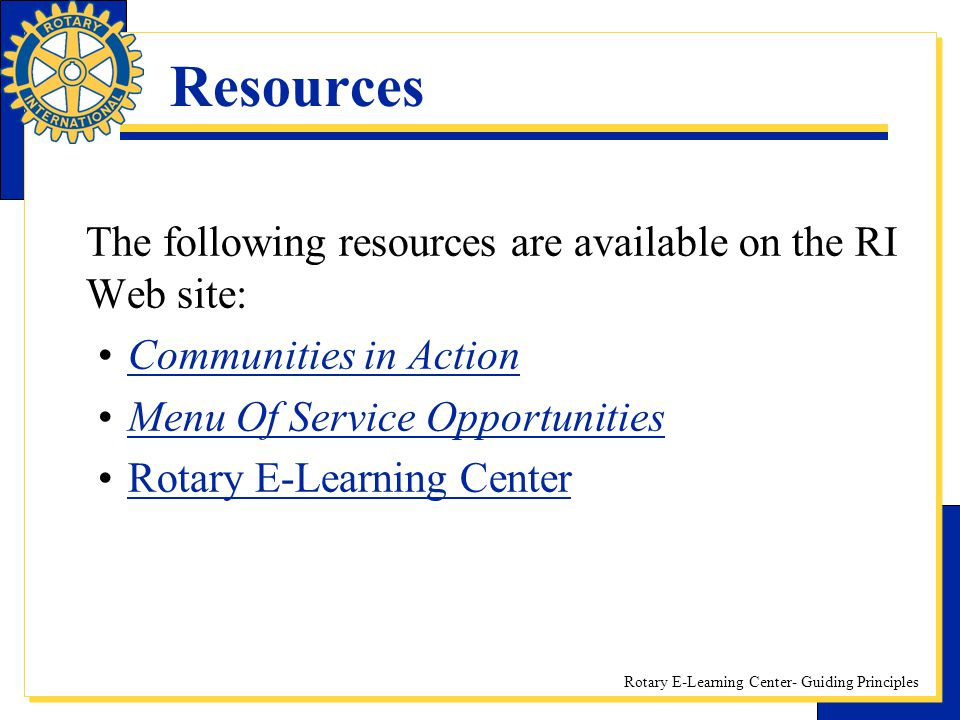 Resources Communities in Action Menu Of Service Opportunities