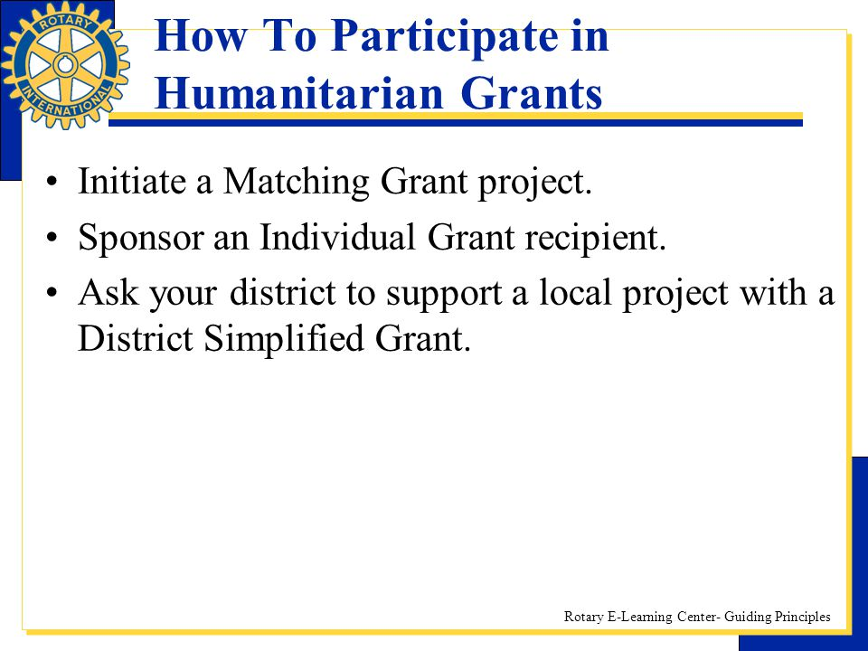 How To Participate in Humanitarian Grants