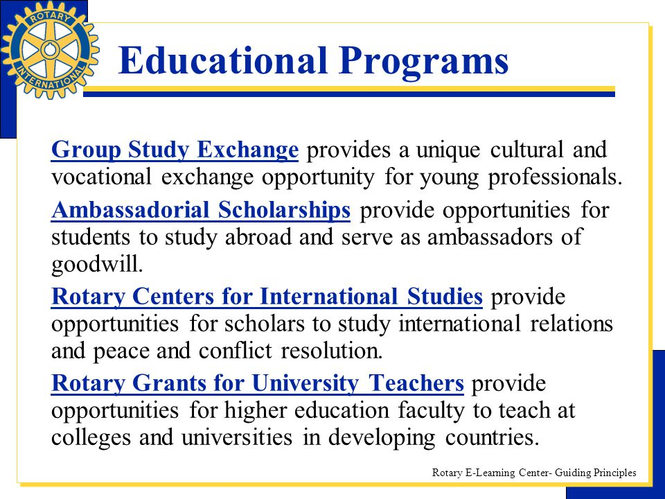 Educational Programs Group Study Exchange provides a unique cultural and vocational exchange opportunity for young professionals.