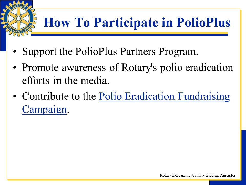 How To Participate in PolioPlus